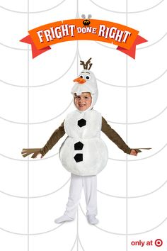 Bring imagination to life with the Disney's Frozen Olaf Toddler Deluxe Costume. This Disney Olaf costume is perfect for your silly little one. Watch them act out favorite scenes in this adorable Frozen costume. You'll have fun practicing their favorite lines – they're sure to be all smiles this Halloween.