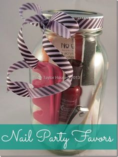 This would make for a great homemade bridesmaid gift!!! Love it!  Nail Party Favors for Guests #ILuvNailArt
