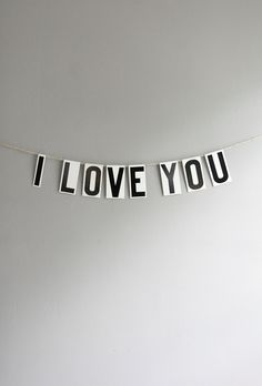 i love you / vintage modern bunting. from ohalbatross