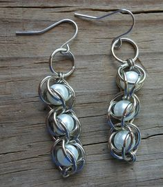 Pearl Chainmaille Earrings