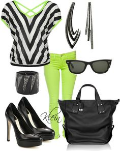 """""""Lime green and black-edgy"""" by stacy-klein on Polyvore"""