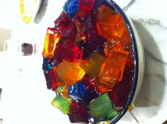 different colored Jello Shots in a bowl!!
