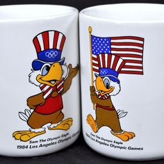 1984 Summer Olympic Games 2 USA Coffee Mug Lot Sam The Eagle Los Angeles Papel #Papel #USA