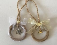 Excited to share this item from my shop: Set of 2 twine wreath ornaments for rustic Christmas decor Housewarming gift Wreath ornament Farmhouse xmas decor Country home decoration Pine Cone Christmas Tree, Rustic Christmas Ornaments, Country Christmas Decorations, Farmhouse Christmas Decor, Handmade Ornaments, Christmas Tree Decorations, Christmas Diy, Christmas Wreaths, Farmhouse Decor