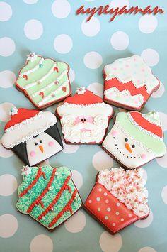 "decorated christmas sugar cookies ""christmas cupcake cookies"""