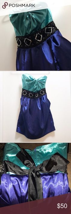 🌎SALE Strapless Cocktail Dress Teal & Royal Blue strapless party dress from Dressbarn. Black ribbon belt is part of the dress. Also has pockets!  📭Same/Next day shipping📭 Dress Barn Dresses Strapless