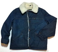 Maverick Ranch Coat Large Jean Denim Jacket Sherpa Lined Vintage Farm Western #Maverick #RanchField