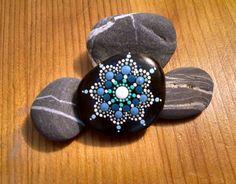 Beach Pebble Art ~ Turquoise Ombre Progression Hand Painted Stone by Miranda Pitrone ~ Mandala/Flower/Faery Garden Decor/dot art/gift idea by P4MirandaPitrone on Etsy
