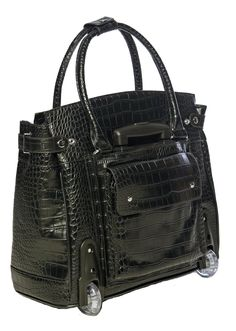 Amazon.com: Black Alligator Crocodile Rolling iPad Tablet or Laptop Tote Carryall Bag: Computers & Accessories Backpack Travel Bag, Travel Bags, Tote Bag, Rolling Laptop Case, Office Bags, Best Travel Luggage, Feminine Office, Laptop Tote, Carry All Bag