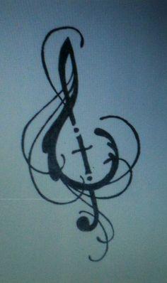 music cross tattoo best one yet more tattoo ideas treble clef tattoo ...