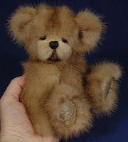 """8"""" Recycled Mink Bear by Teddies by Laura Lynn"""