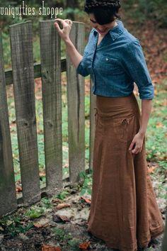 Lets Trek It Custom Linen Maxi Skirt Layered by UniquitiesShoppe