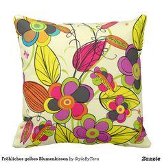 Fröhliches gelbes Blumenkissen Kissen