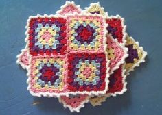 BRAND-SPANKIN' NEW PATTERN! ¯\_(ツ)_/¯ ☀CQ Free Crochet Pattern: Granny Square Sampler Coaster Set. ☀CQ #crochet Thanks for sharing! ¯\_(ツ)_/¯
