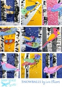 Winter Bird Art Lesson-kinda collage-y