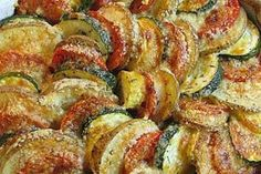 """""""Vegetable Tian - potatoes, zucchini, yellow squash and tomatoes topped with parmesan cheese. Looks delicious!"""" **Could sub nutritional yeast for parmesan to make vegan! Food For Thought, Think Food, I Love Food, Good Food, Yummy Food, Tasty, Side Dish Recipes, Vegetable Recipes, Vegetarian Recipes"""