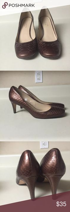 """Talbots bronze reptile pumps size 9.5 Cute pumps by  Talbots  Size 9.5  Heel 3"""" Shows some wear on bottom sole Talbots Shoes Heels"""