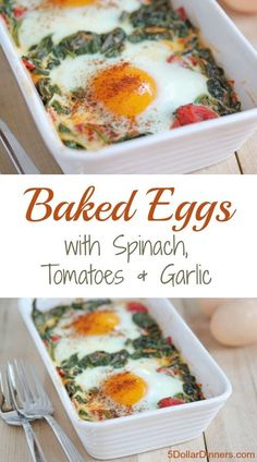 Baked Eggs with Spinach, Tomatoes and Garlic Super easy recipe for eggs baked on a bed of spinach, tomatoes and garlic. Fancy and delicious! Breakfast Dishes, Breakfast Time, Savory Breakfast, Mexican Breakfast, Breakfast Sandwiches, Breakfast Pizza, Breakfast Casserole, Breakfast Ideas, Vegetarian Recipes