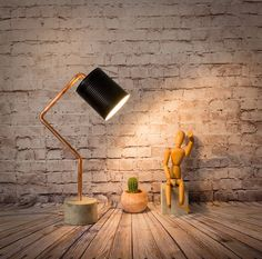 "Industrial concrete copper table black lamp, Industrial lamp, Desk lamp, Copper lamp, Concrete light, Table lamp, Model ""Lamp RCCL05"""
