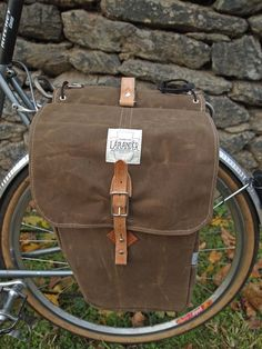 City Panniers - Brown Waxed Canvas/Leather, Black and White Check