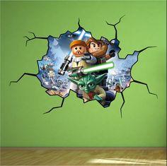 Lego Star Wars Cracked Wall Full colour print Wall Art Sticker Decal Mural Kids | eBay