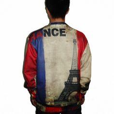 3D Eiffel Tower sweatshirt for men French flag design sweatshirts