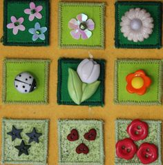 Otro set de inchies como muestrario de botones bonitos combinados con colores de las telas.