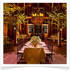 Decor - Bring the Season Indoors. The use of large branches and trees in place of traditional floral decor is one of our favorite seasonal trends. It is an unexpected element that can dress up any space.   Tip: For added glamour, add a dusting of gold paint to tree branches and leaves.