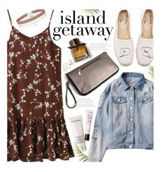 """""""Chic Island Getaway (casual)"""" by beebeely-look ❤ liked on Polyvore featuring Miss Selfridge, Soludos, Lancôme, Topshop, Burberry, NARS Cosmetics, casual, floraldress, distresseddenim and islandgetaway"""