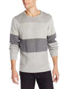 Calvin Klein Jeans Men's Sweater 2XL ColorBlockMixedTexture NWT GreyHeather $79R #CalvinKleinJeans #Crewneck #sweater #menswear #calvinklein