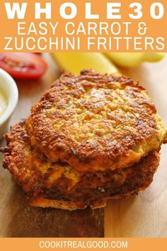Eating Diet Breakfast These Carrot and Zucchini Fritters are quick and easy to make and only use 7 ingredients! They are also Paleo, and Gluten-Free. Whip up a batch on the weekend and reheat during the week for a healthy breakfast. Whole 30 Breakfast, Low Carb Breakfast, Breakfast Recipes, Paleo Quick Breakfast, Breakfast Ideas, Zucchini Breakfast, Whole 30 Dessert, Breakfast Menu, Dinner Recipes