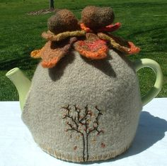 Beautiful Hand Knitted and Felted Autumn Tea Cosy