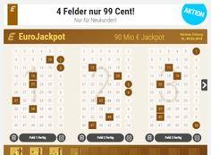 Euro-Jackpot: 4 Felder für 99 Cent bei Tipp24 https://www.discountfan.de/artikel/technik_und_haushalt/euro-jackpot-4-felder-fuer-99-cent-bei-tipp24.php Der Euro-Jackpot ist wieder auf seiner Rekordhöhe von 90 Millionen Euro angelangt – Neukunden erhalten jetzt bei Tipp24 vier Felder für nur 99 Cent. Euro-Jackpot: 4 Felder für 99 Cent bei Tipp24 (Bild: Tipp24.com) Die vier Felder zum Euro-Jackpot für 99 Cent sind nur für Neukunden zu... #Jackpot