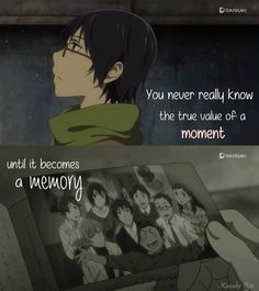 I don't know about the anime but it's the world's most beautiful manga for me : Boku Dake Ga Inai Mach in short (Erased) I recommend that you plese read it Sad Anime Quotes, Manga Quotes, True Quotes, Mega Anime, Tsurezure Children, Anime Shows, Anime Love, Anime Manga, Anime Characters