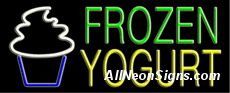 "Neon Sign - FROZEN YOGURT-10147-1478  13"" Wide x 32"" Tall x 3"" Deep  110 volt U.L. 2161 transformers  Cool, Quiet, Energy Efficient  Hardware & chain are included  6' Power cord  For indoor use only  1 Year Warranty/electrical components  1 Year Warranty/standard transformers."