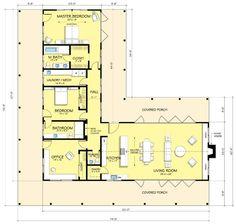 Plano de casa en L con 3 dormitorios