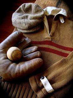 Vintage baseball glove, hat and jersey.