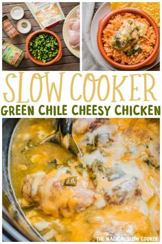 Slow Cooker Green Chile Cheesy Chicken is saucy and delicious, great over rice! Crock Pot Food, Crock Pot Slow Cooker, Slow Cooker Chicken, Slow Cooker Recipes, Crockpot Recipes, Chicken Recipes, The Magical Slow Cooker, Chicken Enchilada Soup, Cheesy Chicken