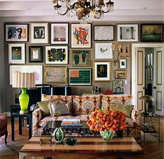 An eclectic gallery wall makes for a rich, lived-in space.
