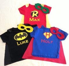 Personalized Superhero T-Shirt, with Super Hero Cape and Mask Custom Super Hero Shirt with Name, Kids Batman, Robin or Superman T-shirt
