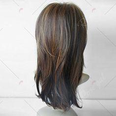 Long Inclined Bang Layered Natural Straight Colormix Synthetic Wig