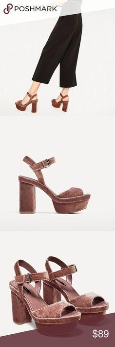 ZARA VELVET PLATFORM HIGH HEEL SANDALS BRAND NEW ZARA VELVET PLATFORM HIGH HEEL SANDALS BRAND NEW Zara Shoes Platforms