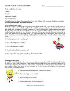 Scientific Method, Control and Variables Worksheet