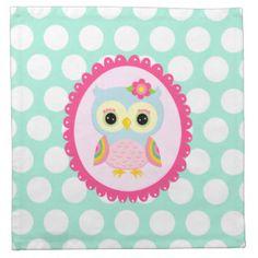 Girly Owl Cloth Napkins & Napkins
