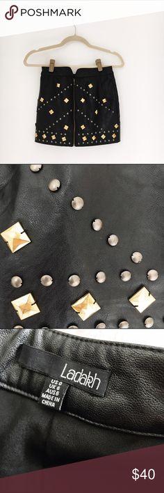 Embellished Leather Miniskirt Black leather Miniskirt with embellishment and zip front detail. Size 0, worn once! 💛✨ Ladakh Skirts Mini