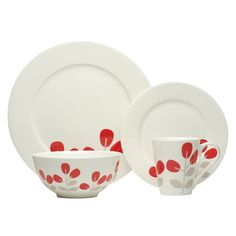 The patterned Winterberry Red 16-piece dinnerware set from Red Vanilla coordinates with the Pure Vanilla White Bone China Set. This elegant set is dishwasher and microwave safe, warm oven safe.