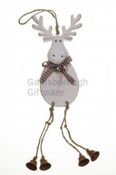 Hanging Wooden Moose with Bell Legs @ gainsboroughgiftware.com
