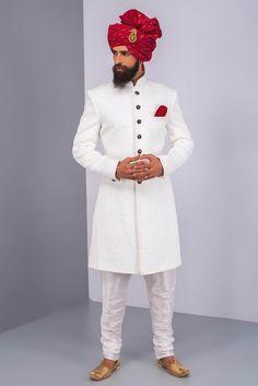 EKAKSH white textured achkan with white churidar #flyrobe #groom #groomwear #groomsherwani #sherwani #flyrobe #wedding #designersherwani