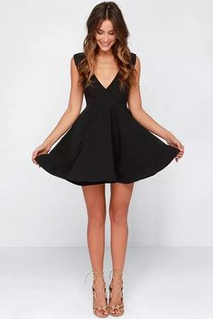 Show off your skills in the All the Right Moves Black Skater Dress! Poly spandex blend forms a sleeveless surplice bodice with a structured skater skirt at bottom. Junior Party Dresses, Hoco Dresses, Party Dresses For Women, Dance Dresses, Pretty Dresses, Homecoming Dresses, Sexy Dresses, Casual Dresses, Fashion Dresses