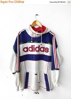 Vintage 90s ADIDAS Swag Japan Big Logo Multicolour Neon Tommy Hip Hop Fashion Jacket Sweatshirt Hoodie  Tag reads:  None but fits like XL